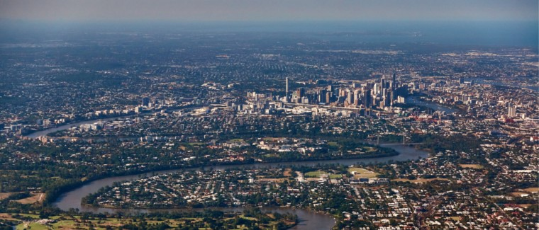 Aerial view of Brisbane in Queensland.