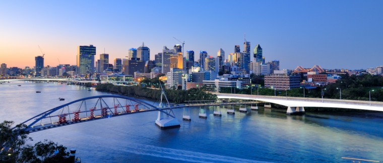 Brisbane city at dusk.